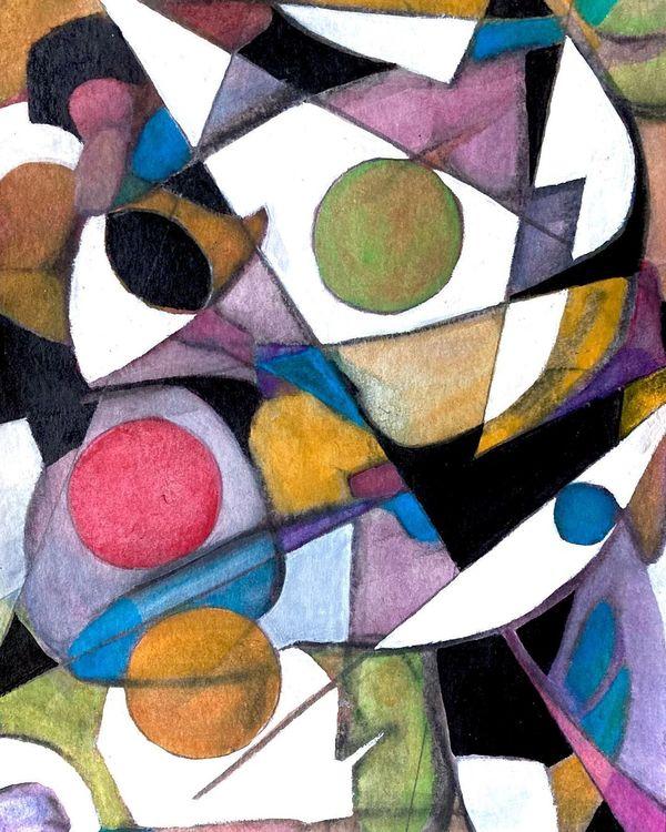 Juliette Manolié, Plangent Melody, watercolor, acrylic and pencil on paper