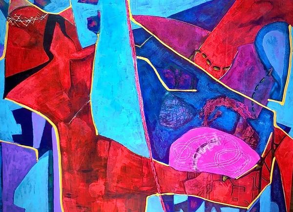 Juliette Manolié, The Gift, acrylic on wood panel
