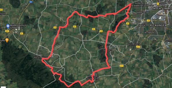 Die beschriebene Radtour ist rund 45 Kilometer lang. (HAZ-Grafik: Llorens | GoogleMaps)
