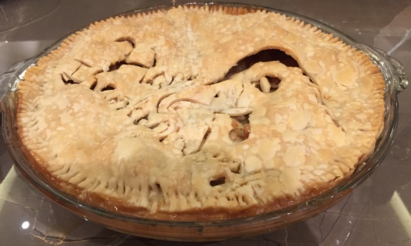 An apple pie masterpiece from my then-ten-year-old chef
