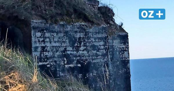 Gefahrenstelle an der Steilküste Sellin: DDR-Bunker ragt weit aus der Kliffkante
