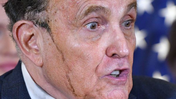 Rudy Giuliani Leaks Hair Dye During Trump Election Presser