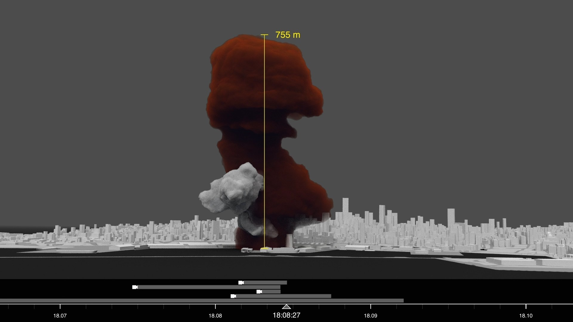 A rendering from Forensic Architecture's analysis of the smoke plumes that emanated from the port of Beirut on August 4, 2020 (image courtesy Forensic Architecture)