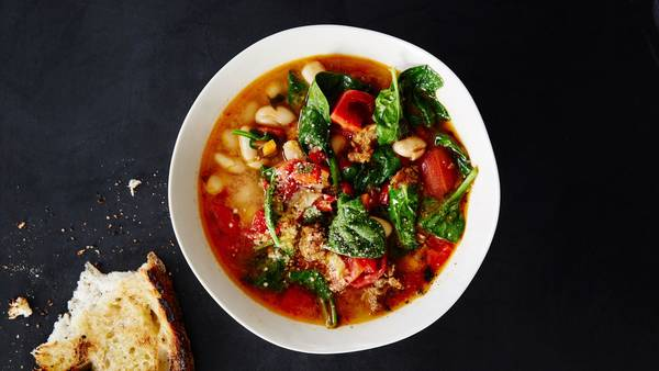 Spicy Sausage and White Bean Soup Recipe | Bon Appétit