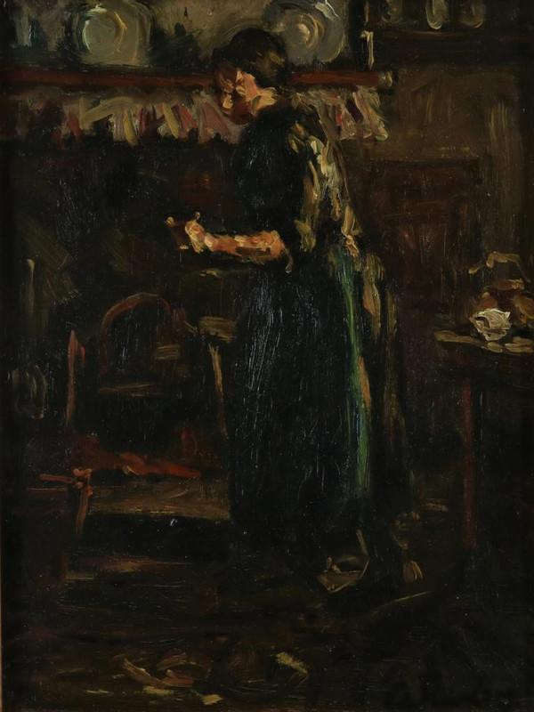 'Boerenmeid in de keuken' - olieverf op board: Anna Kerling (kavel 1067 tijdens de veiling van Veilinghuis De Eland op 26 november)