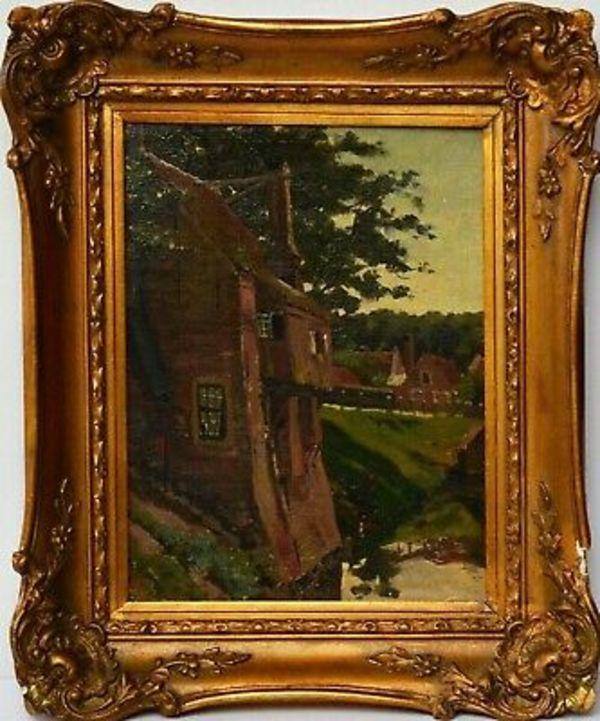 Details zu Gemälde Ölgemälde Niederlande Rotterdam W. Bruynzeel 45 x 37cm Den Haager Schule