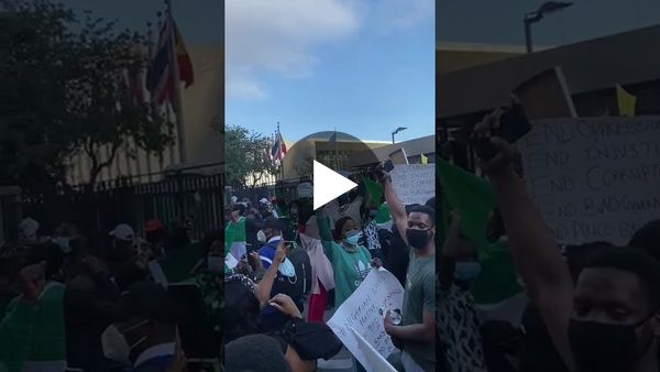 End SARS: Nigerians sing the national anthem at the U.N Headquarters in New York