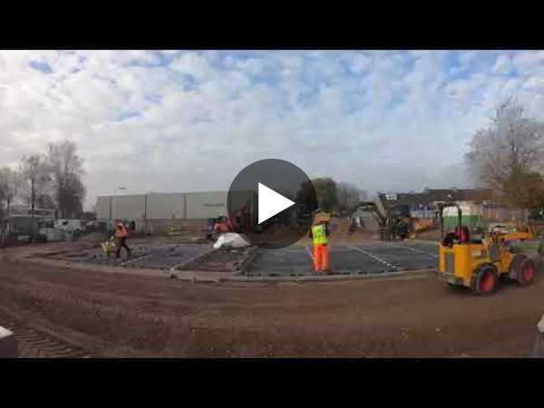 LEIMUIDEN - Timelapse aanleg infrastructuur IKC de Lei fase 1 rondom het Spant (video)