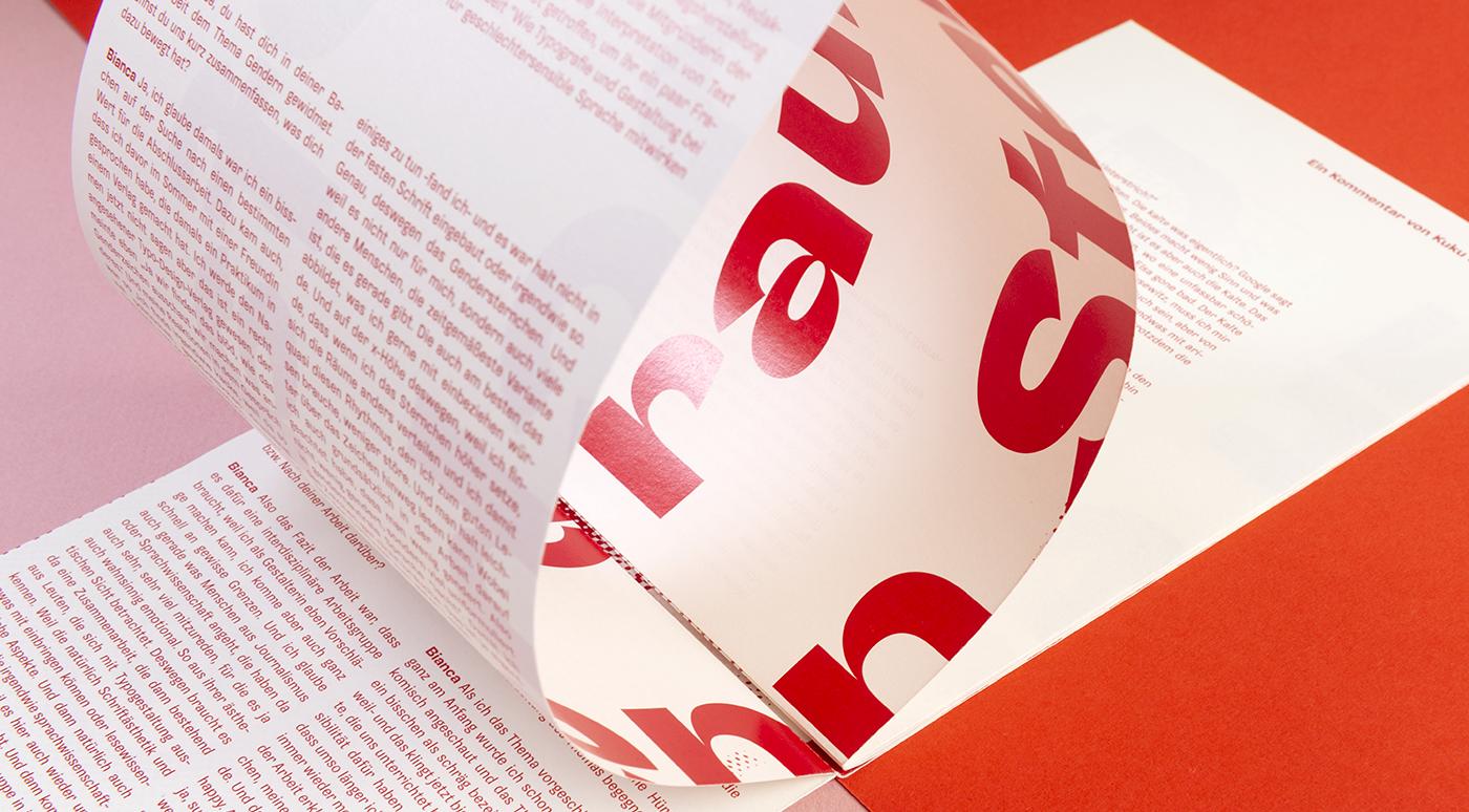"""Sombra in use in the print publication """"Auf ein schmales Gespräch"""""""