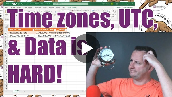 Power Apps Time zones, UTC, SharePoint, and Excel