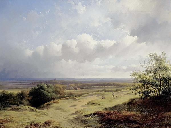 'Gezicht op de duinen bij Bergen' 1856 - olieverf op doek: George ten Berge (herkomst: coll.Stedelijk Museum Alkmaar