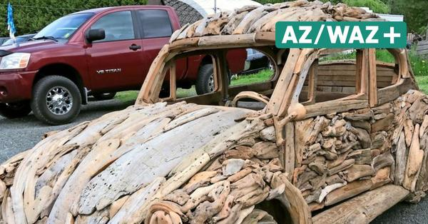 Autoikone aus Holz: Künstler aus Kanada baut VW Käfer aus Treibholz nach