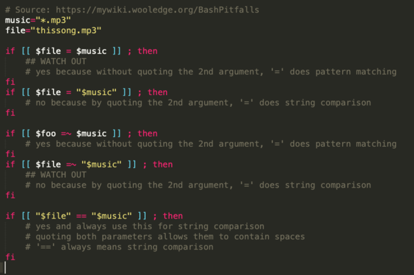 Comparing stuff with [[ ... = ...]]