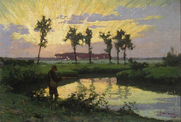 'Vissertje' 1924 - olieverf op paneel: Chris Hammes