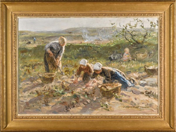'The Potato Harvest - olieverf op doek: Jan Zoetelief Tromp