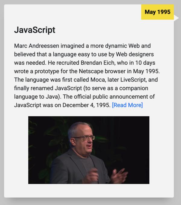 25 ans de JavaScript: timeline