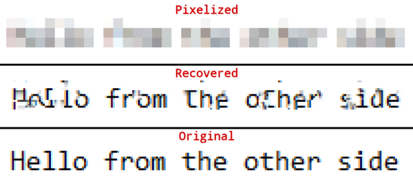 Recovers passwords from pixelized screenshots