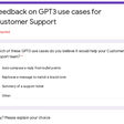 Feedback on GPT3 use cases for Customer Support