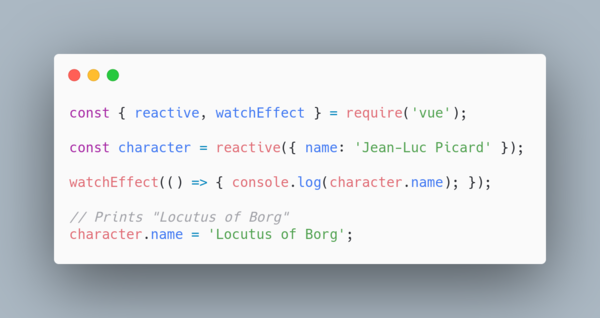 `watchEffect()` is smart enough to re-execute whenever `character.name` changes