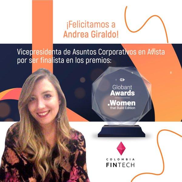 Andrea Giraldo, Vicepresidenta de Asuntos Corporativos de @AvistaColombia, quedó como finalista 🎉 para el @Globant Award - Women that Build Edition 🏆
