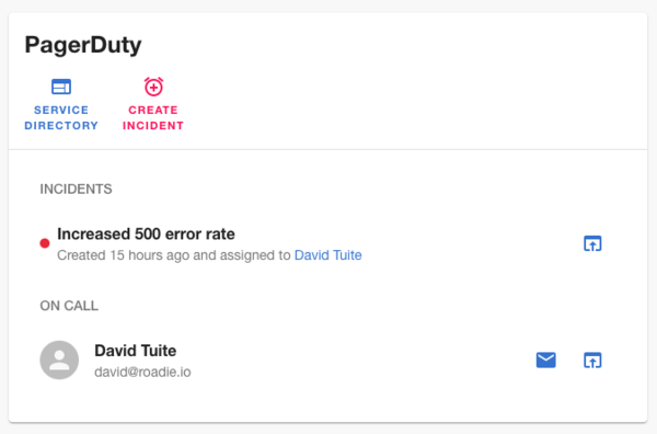 The Pagerduty Backstage widget