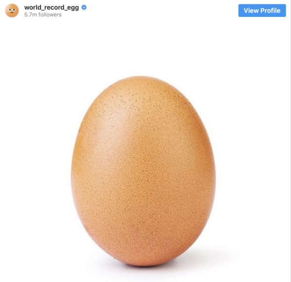 The Number 1 photo on Instagram with almost 54 million likes. Posted in January 2019.
