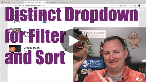 QTT - Power Apps Distinct Dropdown - Filter, SortByColumns, Delegation, AddColumns, UnGroup and more