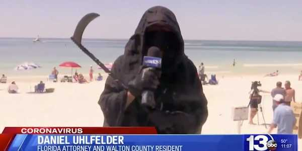 A lawyer who dressed up as the Grim Reaper to warn against the risks of opening Florida's beaches is now facing possible sanctions from the state's governor