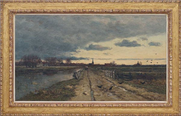 'Landschap bij opkomende storm' - olieverf op doek: Willem Roelofs (herkomst: coll. Simonis & Buunk Kunsthandel, Ede)