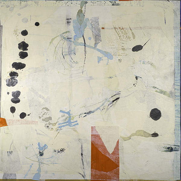 """Tracey Adams, Kintsugi, encaustic, collage and japanese papers on panel, 45"""" x 45"""", 2019"""