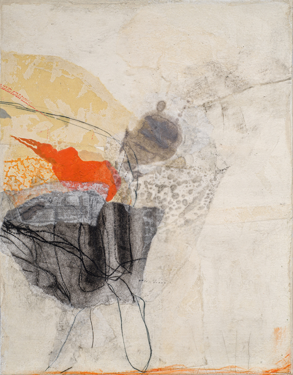 """Tracey Adams, On Again, Off Again, Collage, charcoal, ink and encaustic on canvas, 14"""" x 11"""", 2020"""