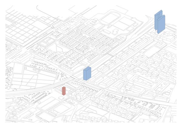 Der geplante Kunstbau im Domagk-Atelier, in blau die beiden Bauten von Helmut Jahn