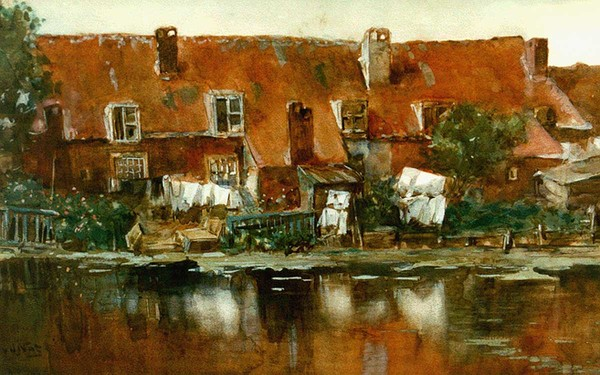 'Oudhollandse plattelandshuisjes' - aquarel: Willem van der Nat (herkomst: voorm. coll Simonis & Buunk, Ede)