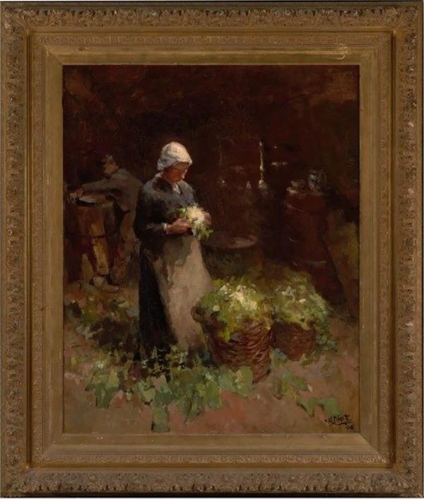 'Meisje met bloemkool' - olieverf op doek: Willem van der Nat (herkomst: coll. Museum De Lakenhal, Leiden