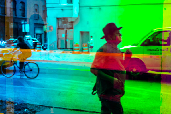 This photo really begged to be color. It is included in my zine, City in Color. Man in Hat, New York City, June 2018.