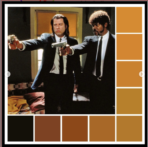 And there are Colors for Cinephiles on Instagram. Pulp Fiction is just one of the many films that they provide color swatches for and for each film they have a handful of images like this for different scenes. I'm not certain that it has any practical value for me. But I do enjoy seeing them.