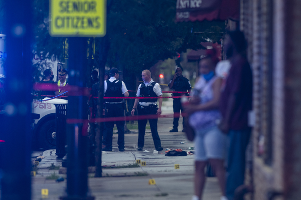 Fifteen people were wounded in a shooting in July at a funeral home on 79th Street in Auburn Gresham. | Tyler LaRiviere/Sun-Times