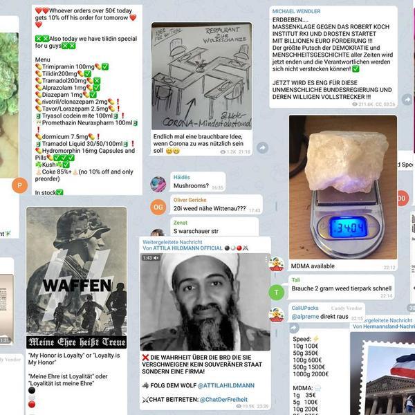 Wie sich der Irrsinn auf Telegram organisiert : Kokain, Anleitung zum Bombenbau, Nazi-Hetze – kein Problem