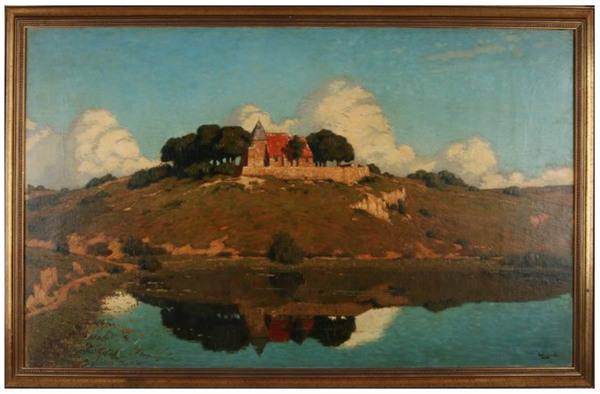 'Romaanse kerk op heuvel bij meer' - olieverf op doek: Derk Wiggers (kavel 1322 Twents Veilinghuis)