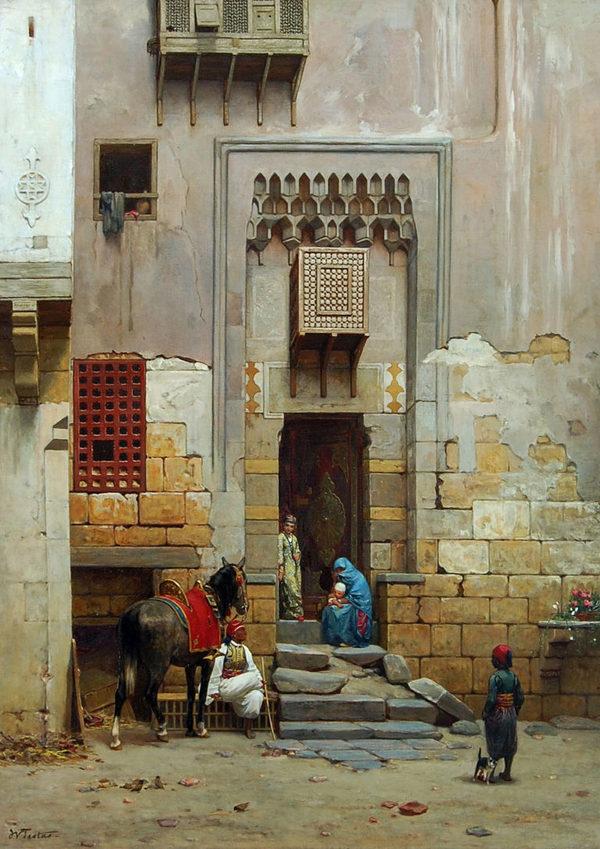 'Binnenplaats van een huis te Caïro' - olieverf op doek: Willem de Famars Testas (herkomst: coll. Rijksmuseum Amsterdam)