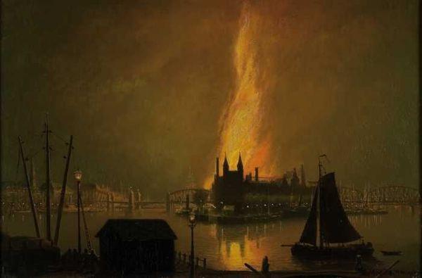'Zicht op een brand op het Noordereiland bij nacht' 1902 - olieverf op doek: Rein Miedema (herkomst: coll. Museum Rotterdam)