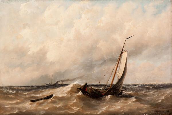'Schepen op woelig water' 1888 - olieverf op doek: Rein Miedema (herkomst: voorm. Veilinghuis AAG, Amsterdam)