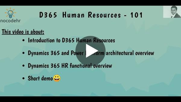Dynamics 365 Human Resources 101