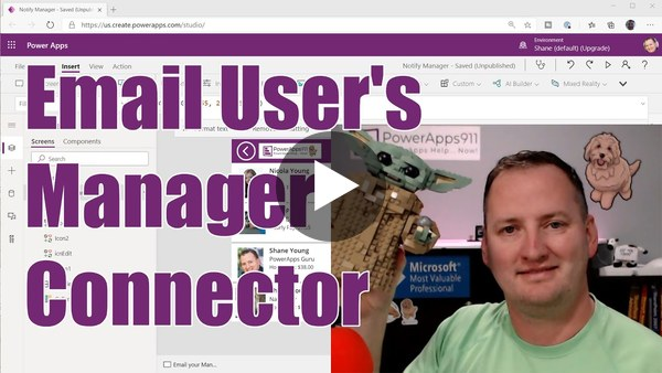Power Apps Email User's Manager using the Office 365 Outlook and Users connectors