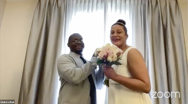 Ashley Graff and Undra Baldwin of Elgin were married today in a virtual ceremony officiated by Cook County Clerk Karen Yarbrough. | Zoom