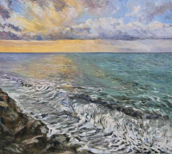 Hope For A New Day by Terrill Welch, walnut oil on canvas, 36 x 40 inches - In private collection.