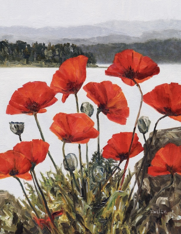 Poppies Beside The Sea Revisited by Terrill Welch, walnut oil on canvas, 18 x 14 inch. In private collection.