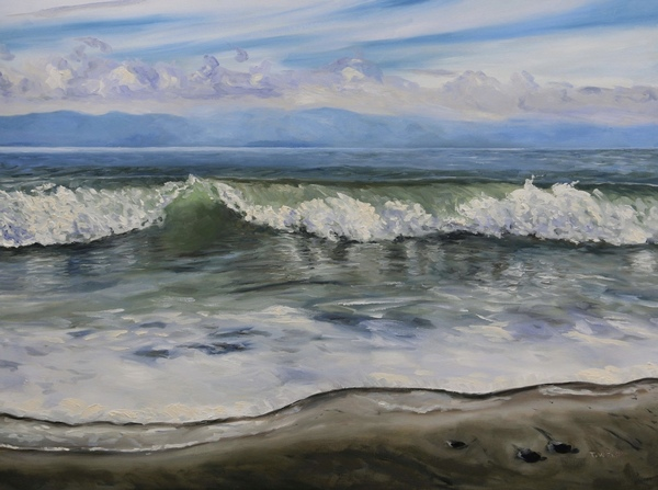 Rolling Wave French Beach Vancouver Island British Columbia by Terrill Welch, walnut oil on canvas, 30 x 40 inches - In Private Collection.