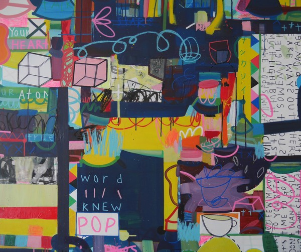 Andrew Weir, The Cartography of Night, 120 x 100 cm, mixed media on canvas
