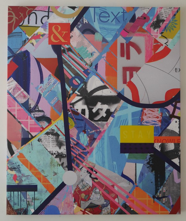 Andrew Weir & Tommy Perman, Her Lonely Obsession, 120 x 100 cm , mixed media on canvas (Part of the Extraordinary Ladder project)